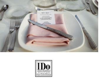 Wedding Menus - Place Setting Menu - Wedding Menus - Custom Menus for Bridal Luncheons, Weddings and Events