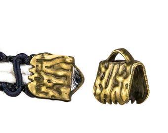 16 pieces  6mm (1/4 inch)  Antique Bronze Ribbon Clamp End Crimps - Artisan Series