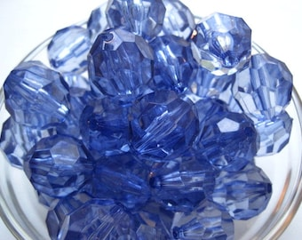 CLEARANCE Bubblegum Beads, 20mm Blue Faceted Beads, 10 pcs, Translucent Bead, Gumball Bead, Acrylic Bead, Plastic Bead, Necklace Bead