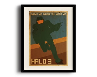 Halo 3 retro poster, Halo 3 digital art poster, Framed print, Matted print, Mounted print