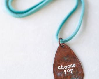 Choose Joy Necklace Meaningful Encouragement Gift Copper Metal Stamped Inspirational Gift Under 30