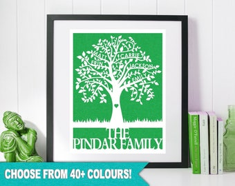 Personalized Family Tree Paper Cut Fathers Day Gift Custom Papercut for Parents Wedding Anniversary 2 3 4 5 6 Names 8 x 10 or A4 Unframed