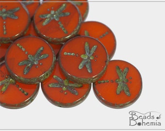 4 pcs Opaque Red-Orange Picasso Czech Glass Table Cut Dragonfly Coin Bead 17 mm (11545)