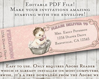 Baby Bath Baby Shower Matching Address Labels - Fillable, Editable, DIY Printable