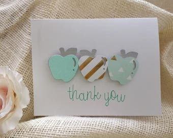 Mint & Gold Apple Thank You Note Cards