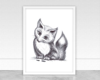 Fox Cub Baby Nursery Decor Instant Download Digital Printable Art Animals