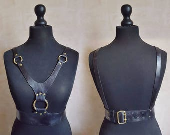 Hel // Leather Body Harness for her, harness top and underwear, leather bridal harness Genuine Leather Accessories leather harness underwear