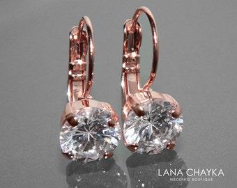 Rose Gold Cubic Zirconia Earrings Leverback CZ Wedding Earrings Rose Gold Bridal Jewelry Clear Cubic Zirconia Earrings CZ Rose Gold Earrings