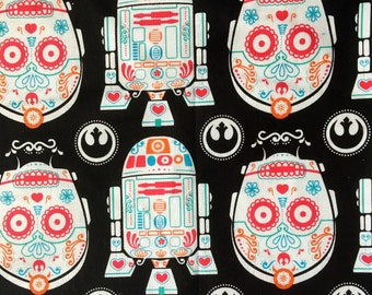Droids, Star Wars, fabric, sugar skull, day of the dead, R2D2, C3PO, the force,