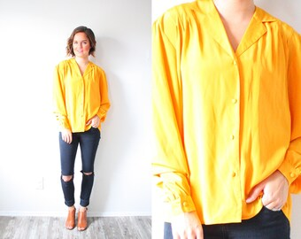 Vintage golden yellow blouse // yellow long sleeve summer top // Small/Medium top // boho top // summer spring blouse // fancy blouse / 80's