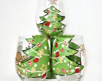 Christmas Tree Wine Glass Set