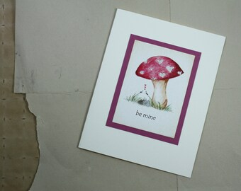 Valentine's Day Love  Be Mine Ants and Mushroom Handmade Greeting Card, Rose Valentine