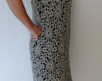 Grey cream color crocheted dress