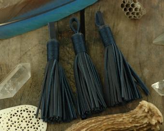 "Midnight / Dark Blue Moroccan Leather Tassel 3 3/4"" /Tribal Designer-Quality Leather Fringe /1 Tassel /Jewelry Supply, Decor, Charm"