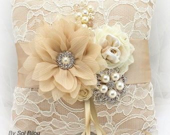 Lace Wedding Ring Bearer Pillow Champagne Ivory Gold with Pearl Brooch,Vintage Elegant Wedding
