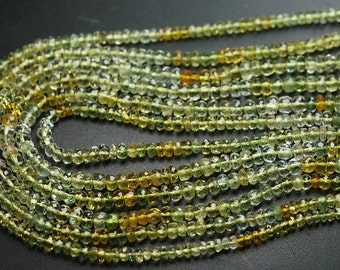 13 Inches Strand,Mixed Super Fine Quality, Yellow Aquamarine Faceted Rondelles,Size 3.5-4mm