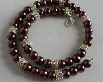 Chocolate Pearl Necklace Set/ Brown Pearl Necklace/ Pearl and Rhinestone Necklace/ Chocolate Pearls