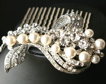 Wedding Hair Comb, Bridal Hair Accessories, Pearl & Crystal Bridal Hair Comb, Art Deco Wedding Hair Accessories,Vintage Glamour, BETTE