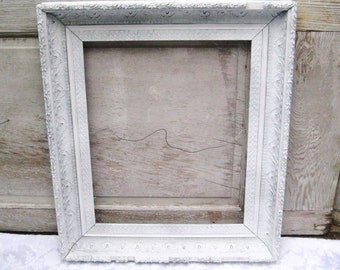 Large white antique picture frame, painted frame, gesso frame, distressed rustic frame, 18 x 22, decorative ornate frame, shabby cottage