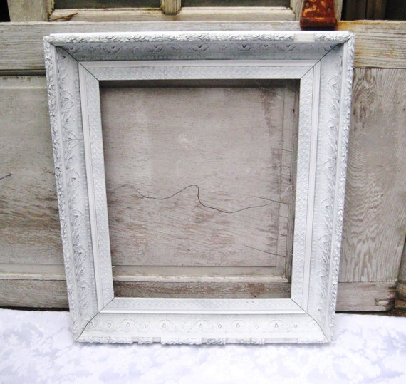 Large white antique picture frame, painted frame, gesso frame ...