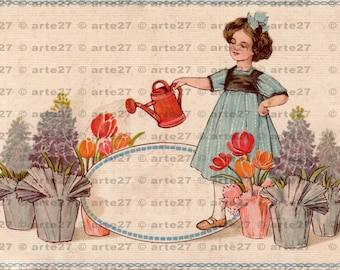 Vintage postcard congratulations on the birthday girl with watering can for immediate digital download, 3 files