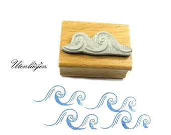 Stamp waves, rubber stamp 13 x 20 mm