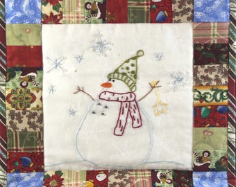 Snowman Christmas Hanging Wall Art  - Holiday mini quilt  - hand stitched, embroidered and beaded
