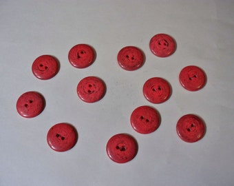 12  Red,  Buttons, Lot  2527  (Free US Shipping)