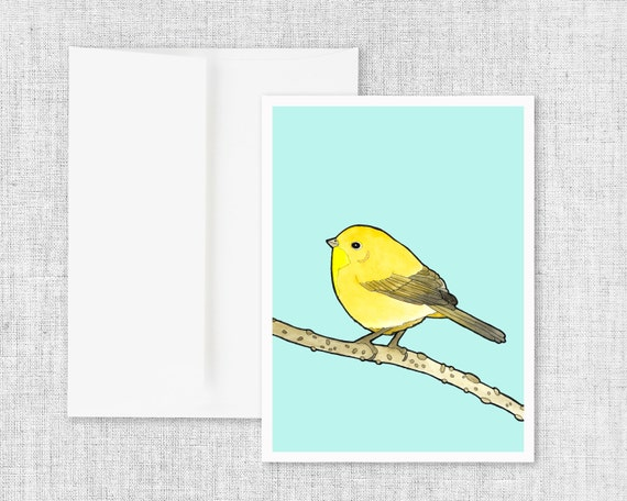 "modern greeting card, blank greeting cards, greeting card set, watercolor bird art, nature drawing, pen and ink art - ""Common Yellowthroat"""