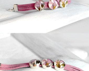 Stacking bracelet Pink flower bracelet Gift idea for girls gift romantic bracelet for Birthday gift bracelet love you gift Pink bracelet