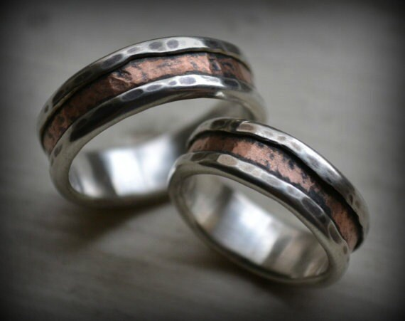 Rustic Silver And Copper Wedding Ring Set Handmade Fine