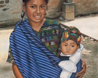 Guatemalan Mother and Child Canvas Giclee Print