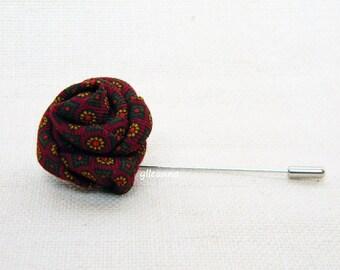 Flower lapel pin - Men lapel flower - Small lapel pin - Buttonhole - Mens boutonniere.  Burgundy, mustard yellow, green.