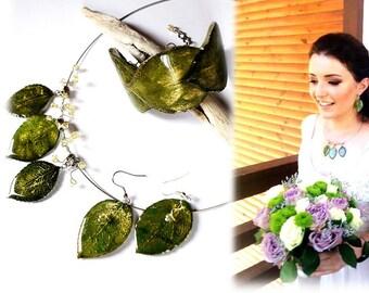 Real  leaf wedding jewelry set, bridal jewelry, green wedding set bracelet, bride gift,  green jewelry bridal, Anniversary set wife