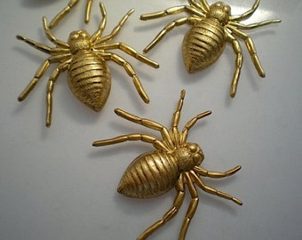 4 large brass spider charms
