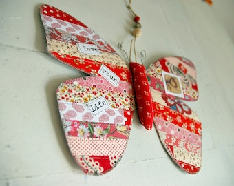 Patchwork-red decoration House-Butterfly hanging Butterfly