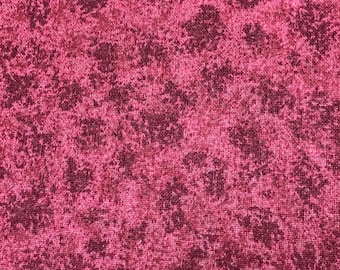 2 Yards of Pink and Burgundy Muddled Almost Sponge Pattern Cotton Fabric