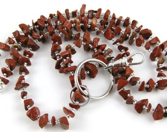 Back to School Red Jasper gemstone chip lanyard ... perfect for your ID badge key eyeglasses