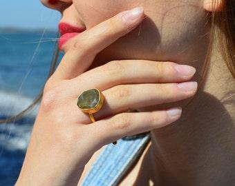 Labradorite Ring, Gold Ring, Labradorite, Gemstone Ring, Solitaire Ring, Ring For Women, Handmade  Ring, Gift For Her