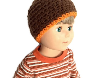 18 Inch Boy Doll Beanie, Brown and Orange Crocheted Doll Hat, Brown and Orange Striped Beanie, Boy Doll Clothes