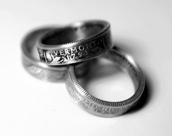 Handcrafted Ring made from a US Quarter - Vermont - Pick your size