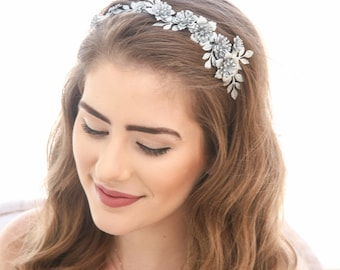 Grecian Silver Tone Metal Leaf and Flower Headband Silver Wedding Headpiece, Metal Leaf Headband for Adults, Metal Hair Accessory of Leaves