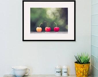 cherry art print, cherry photograph, fruit photograph, kitchen wall art, food photograph, food still life, fruit wall art, fruit wall art