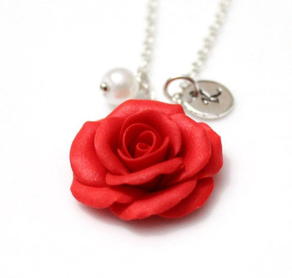 Red rose necklace red pendant personalized initial disc mozeypictures Choice Image