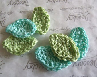 Set of 10 Crochet Leaf Appliques. 1.5 Inches Leafs.