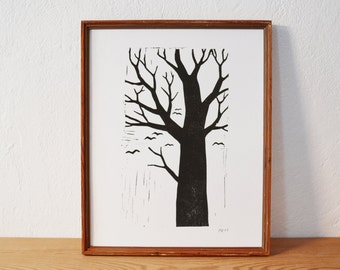 tree 2 · original linocut · Limited Edition · DIN A4