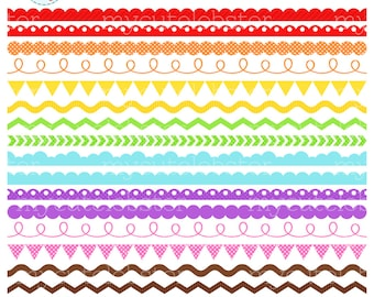 Rainbow Borders Clipart Set - assorted borders, scallop, ric rac, pennant, swirl, dot - personal use, small commercial use, instant download