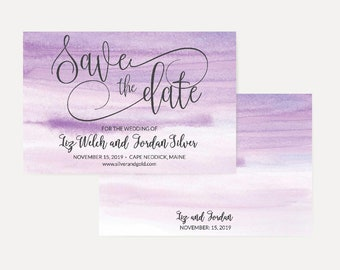 Purple Watercolor Ombre Save The Date Cards Template, Save The Date Template with Photo, Cheap Online Wedding Save The Date, Hadley Design