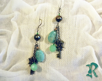 Earrings with Amazonite and Olive Pearls