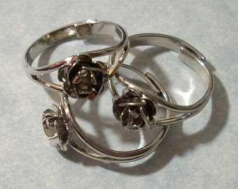 3 Silver Rose Rings with 2mm cabochon settings Adjustable Ring Blanks Rose Pinky Rings